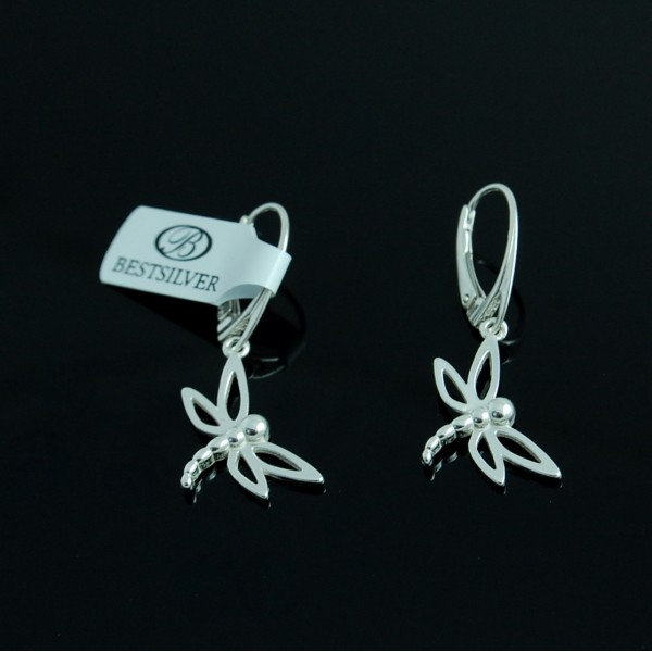 Kolczyki Srebrne Owad - Ważka ze srebra 925 Super