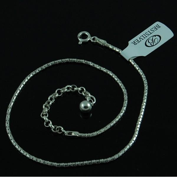 Bransoletka na nogę Koreana Cord 24,5cm + 5,5cm Srebro
