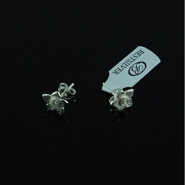 Kolczyki kwiatki Srebrne na sztyfty wkrętki Srebro 925
