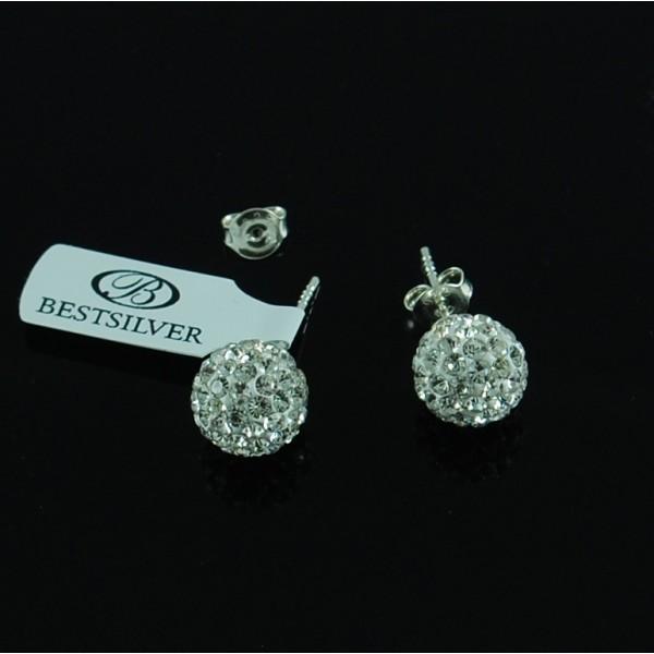 Kolczyki Discoball Swarovski kulki 10mm Crystal na sztyfty