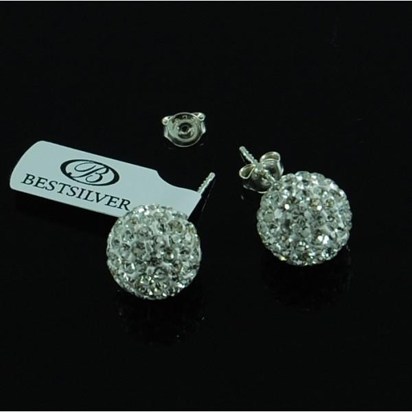 Kolczyki Discoball Swarovski kulki 12mm Crystal na sztyfty