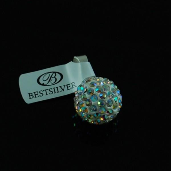 Wisiorek Srebrny Discoball Swarovski 14mm kulka Crystal AB