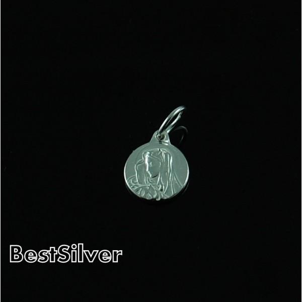 Medalik Srebrny z Matką Boską Okrągły Srebro