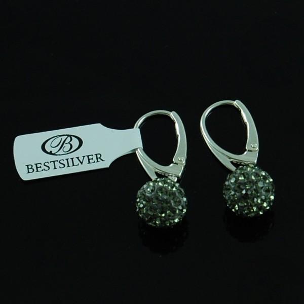 Kolczyki Srebrne Discoball wiszące Black Diamond 10mm