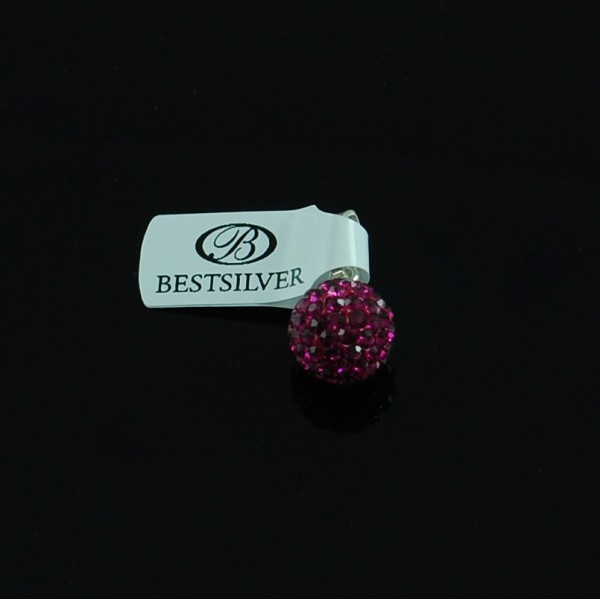 Zawieszka Srebrna Discoball Fuchsia 10mm