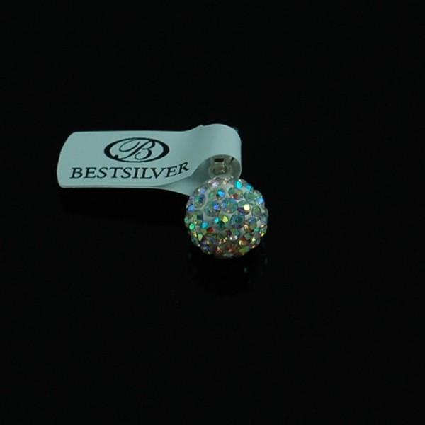 Zawieszka Srebrna Discoball Crystal AB 10mm