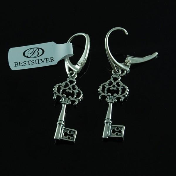 Kolczyki Srebrne klucz oksydowany Srebro pr 925