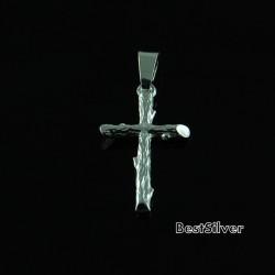 Krzyżyk Srebrny Gałąź wzór Drewno SREBRO pr 925