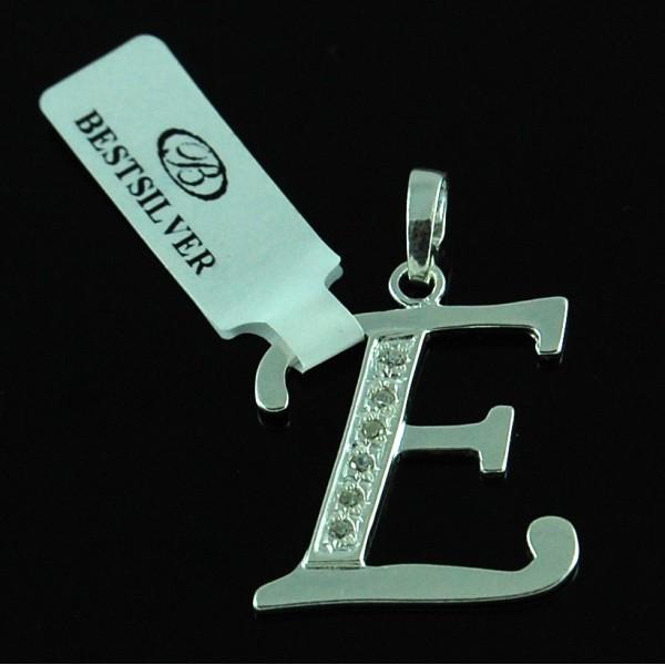 Zawieszka Srebrna literka E z cyrkoniami SREBRO 925