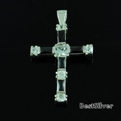 Krzyżyk Srebrny Damski Onyks z Cyrkoniami SREBRO