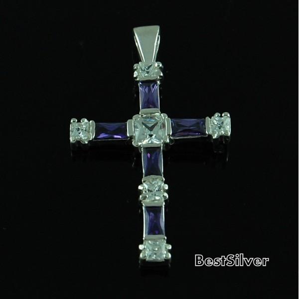 Krzyżyk Srebrny Damski Ametyst z Cyrkoniami SREBRO