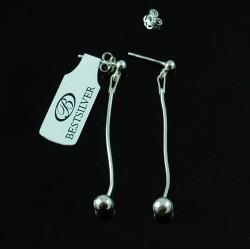 Kolczyki Srebrne wiszące z kulką SREBRO 925
