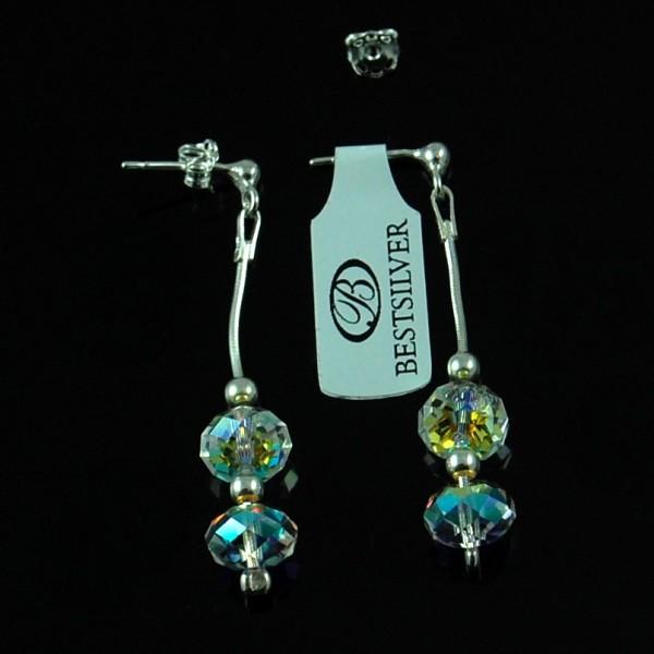 Kolczyki Srebrne wiszące podwójne SWAROVSKI Crystal ab