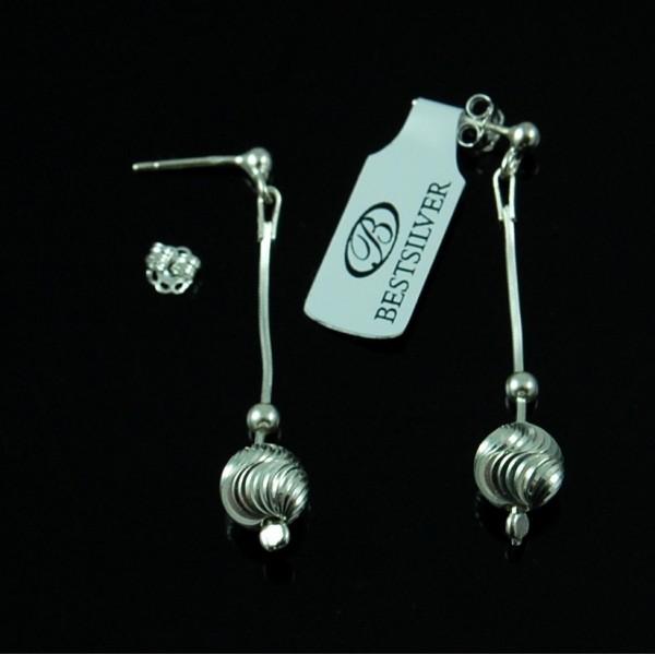 Kolczyki Srebrne wiszące z falowaną kulką SREBRO 925