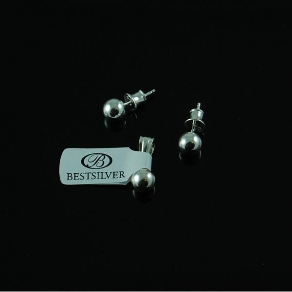 Kolczyki Srebrne KULKI 6mm + zawieszka srebrna  komplet SREBRO 925
