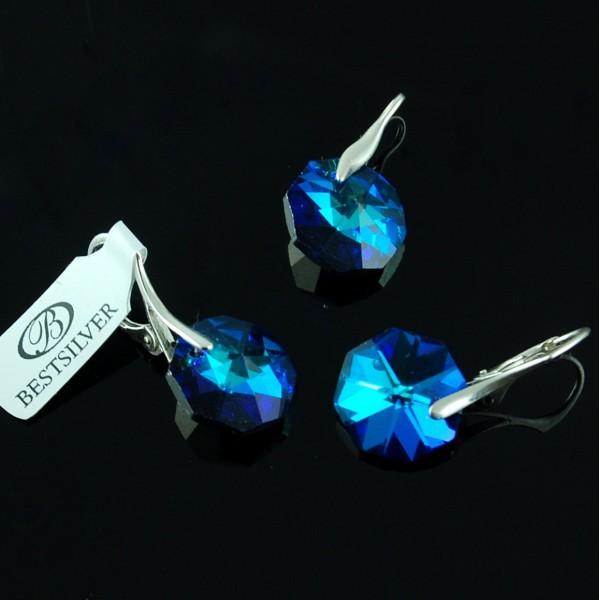 Komplet Swarovski - kolczyki srebrne + wisiorek OCTAGON Bermuda Blue
