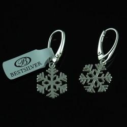 Kolczyki Srebrne Śnieżynki - płatki śniegu SREBRO 925