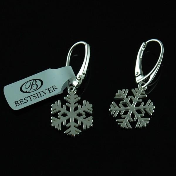 Kolczyki Srebrne Śnieżyki - płatki śniegu SREBRO 925
