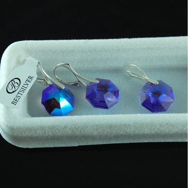 Komplet Swarovski - kolczyki srebrne + wisiorek OCTAGON Blue Violet