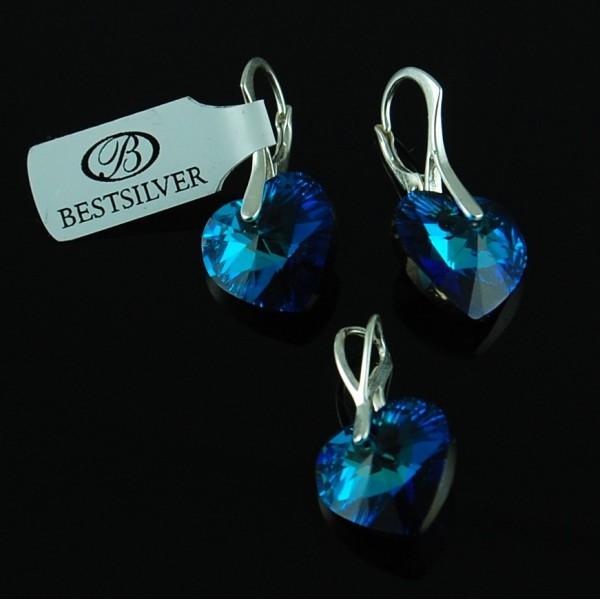 Komplet Swarovski - kolczyki srebrne + zawieszka Serce Bermuda Blue 6228