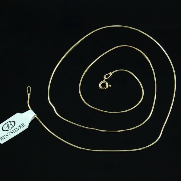 Łańcuszek Srebrny pozłacany 50cm ośmiokątny biżuteria złocona