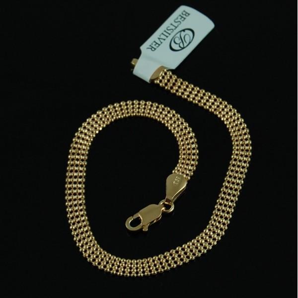 Bransoletka srebrna damska 4rzędowe kulki Złocona biżuteria