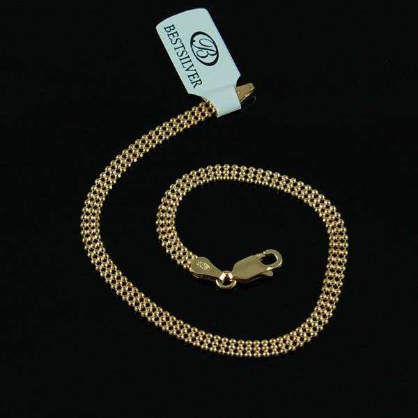 Bransoletka srebrna damska 3rzędowe kulki pozłacana biżuteria