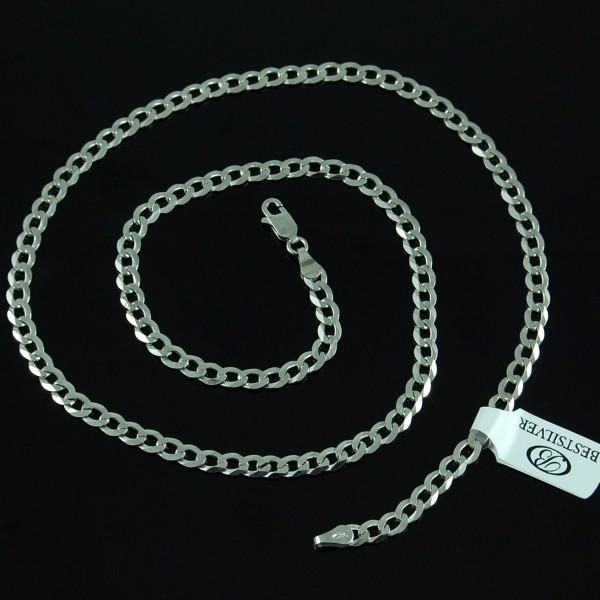 Łańcuszek srebrny rodowany pancerka 4,5mm 55cm męski
