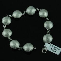 Bransoletka srebrna rodowana damska spodki matowa