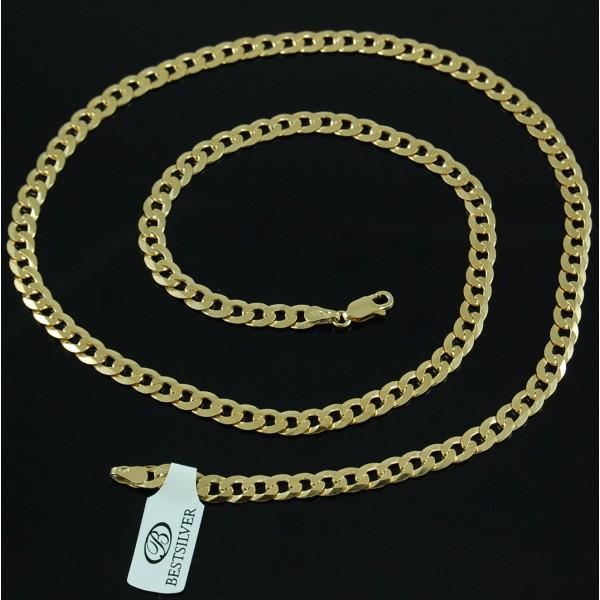 Łańcuszek srebrny pancerka 55cm 5,3mm Pozłacany 24k