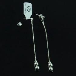 Kolczyki srebrne wiszące z kulkami 6cm SREBRO sztyfty