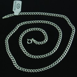 Łańcuszek Srebrny Męski Pancerka Soczewkowa 4mm 60cm