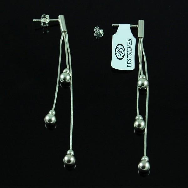 Kolczyki Srebrne wiszące potrójne z kulkami SREBRO 925
