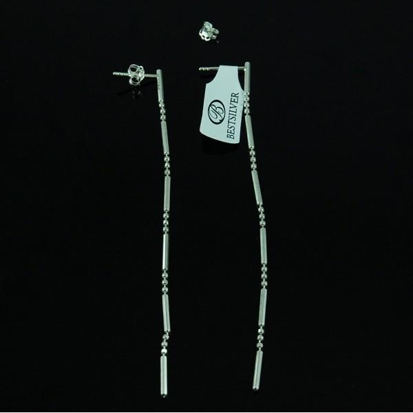 Kolczyki Srebrne wiszące na sztyfty kropka kreska SREBRO 9cm
