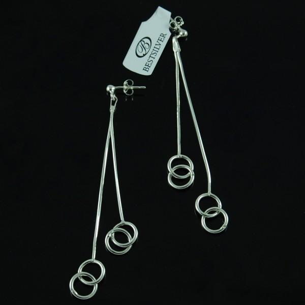 Kolczyki srebrne wiszące podwójne kółeczka sztyfty SREBRO
