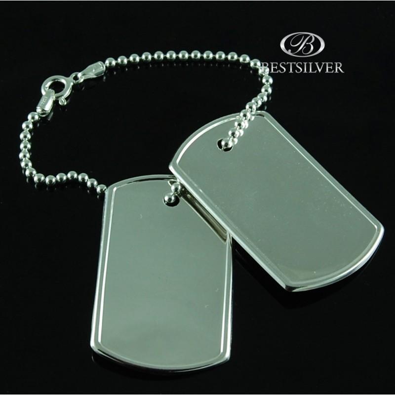 5a891a5fda26ec Nieśmiertelnik srebrny Męski Wojskowy SREBRO podwójny z łańcuszkiem. Loading  zoom