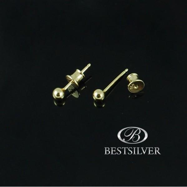 Kolczyki Srebrne kulki 3mm pozłacane srebrne