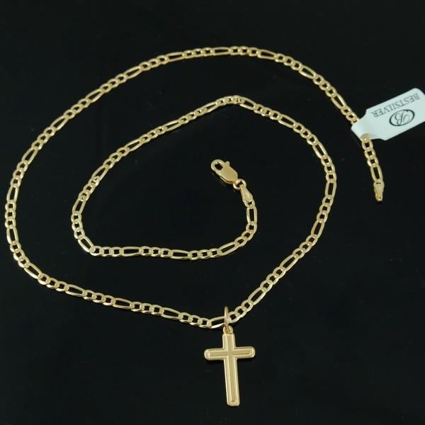 Łańcuszek Srebrny Pozłacany 60cm FIGARO 3mm + krzyżyk