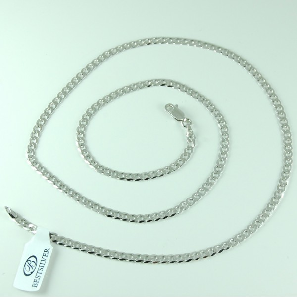 Łańcuszek Srebrny 60cm Panerka 3,5mm rodowany Srebro 925