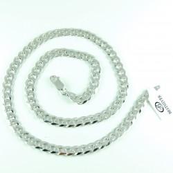 Łańcuszek Srebrny Pancerka 55cm 7mm rodowany Męski srebro