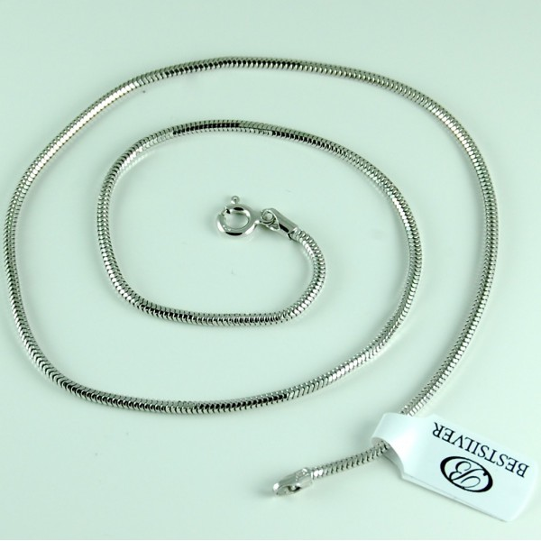 Łańcuszek Srebrny żmijka 2mm 45cm Rodowany