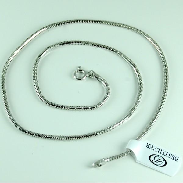 Łańcuszek Srebrny żmijka 2mm 60cm Rodowany