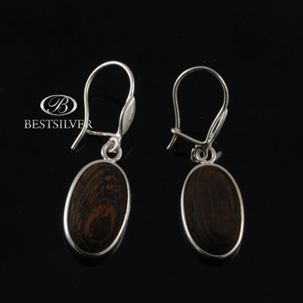 Kolczyki Srebrne wiszące srebro + drewno brąz