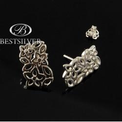 Kolczyki srebrne sztyfty oryginalne kwiatki Srebro