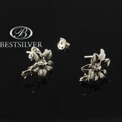 Kolczyki srebrne sztyfty kwiatki Srebro 925