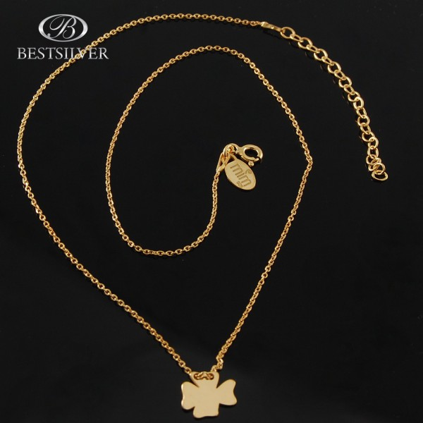 Łańcuszek srebrny złocony z zawieszką koniczyną