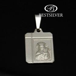 Medalik srebrny męski z matką boską SREBRO