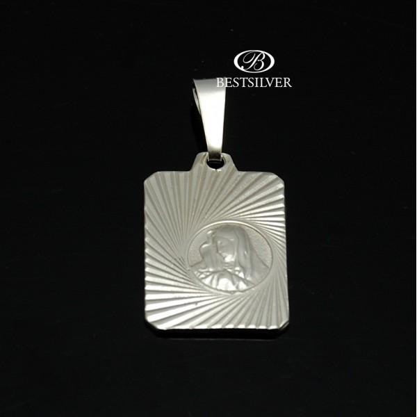 Modny męski medalik srebrny z Matką Boską Srebro 925