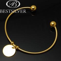 Bransoletka srebrna rurka z kulkami złocona z zawieszką kółko