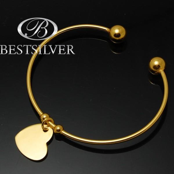 Bransoletka srebrna rurka z kulkami złocona z zawieszką serce